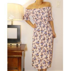 Topshop bardot maxi flower dress